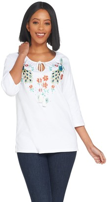 Factory Quacker Bohemian Floral Knit Top With Tassel Detail