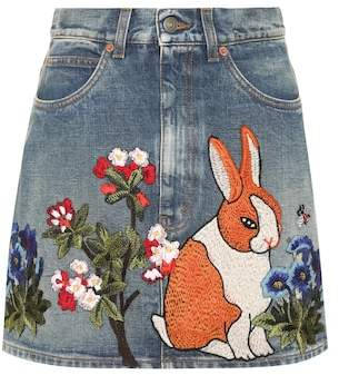 Gucci Embroidered denim miniskirt
