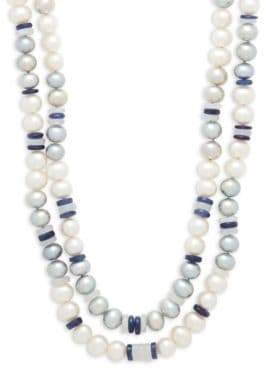 7-8MM White & Grey Semi-Round Freshwater Pearl, Sapphire and 14K White Gold Double Row Necklace