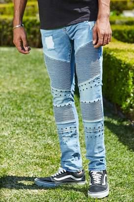 boohoo French Montana Super Skinny Blue Biker Studded Jeans