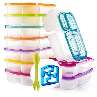 Perfect Fit Bento Lunch 3 Compartment Food Set of 10 Storage Meal prep Container Boxes– Ideal for Adults