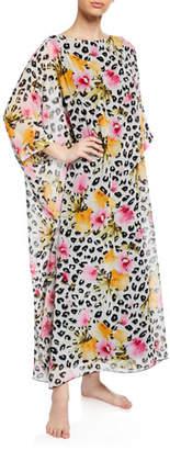 Diamond Tea Gown Leopard Floral-Print Chiffon Caftan