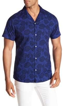 Slate & Stone Modern Fit Leaf Notch Print Button Short Sleeve Shirt
