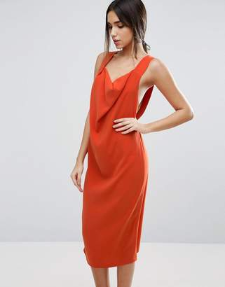Asos Design Drape Cowl Front Strap Midi Dress