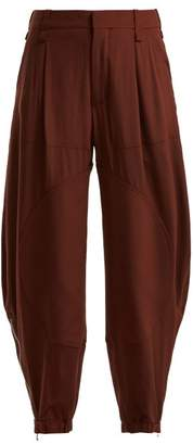 Chloé Zipped Cuff Silk Crepe De Chine Trousers - Womens - Dark Brown