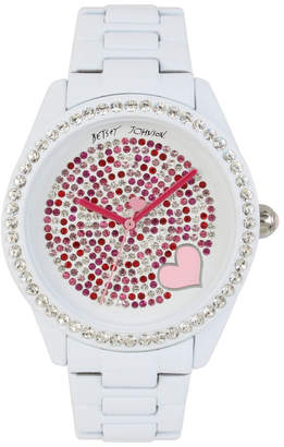099896843e Betsey Johnson Mixed Stone Accented Dial & White Bracelet Watch
