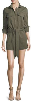 Veronica Beard Raquel Zip-Front Long-Sleeve Cotton Romper