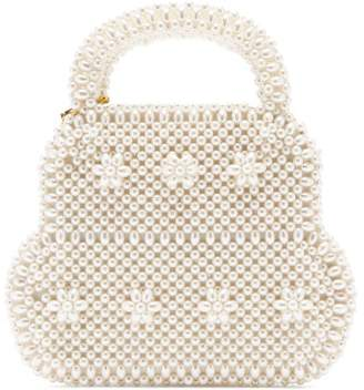 Shrimps August Faux Pearl Embellished Bag - Womens - Cream
