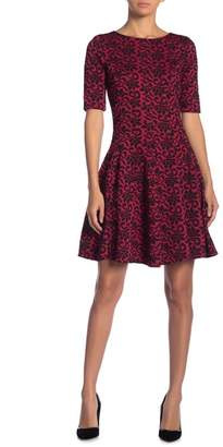 Gabby Skye Jacquard Elbow Sleeve Fit & Flare Dress