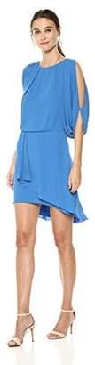 Halston Women's Cape Sleeve Draped Open Back Dress