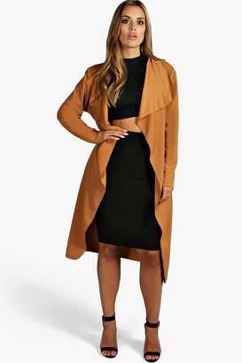 boohoo Plus Orla Belted Shawl Collar Coat