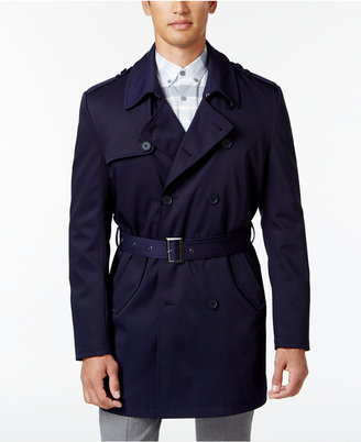 Calvin Klein Men's Slim Fit Double-Breasted Belted Raincoat $350 thestylecure.com
