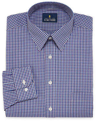 STAFFORD Stafford Travel Performance Super Shirt Long Sleeve Broadcloth Checked Dress Shirt