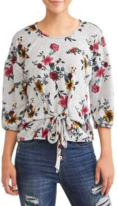 Liberty Love Juniors' Printed Tie Front Knit Short Sleeve Blouse
