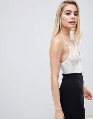 Club L allover lace sheer underwire body in white