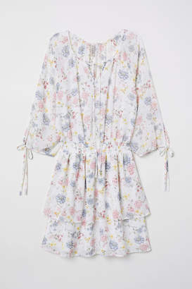 H&M Patterned Chiffon Dress - White