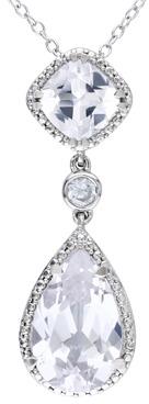 Bed Bath & Beyond Sterling Silver, Cushion-Cut White Sapphire Pendant w/Chain