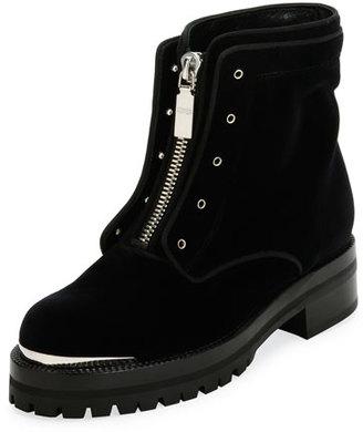 Alexander McQueen Flat Velvet Zip Combat Boot, Black $990 thestylecure.com