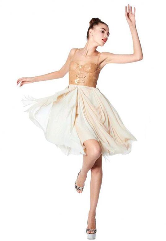 Alice + Olivia Jeanie Leather Buckle Bustier Dress in Tan