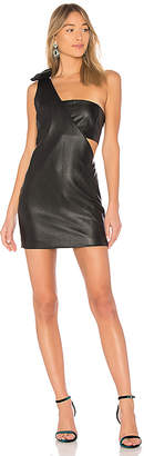 X REVOLVE One Shoulder Faux Leather Dress in Black. - size S (also in L,M,XS) endless rose
