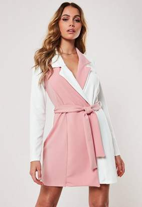 Missguided Pink Contrast Long Sleeve Fitted Jersey Belted Wrap Dress, Pink