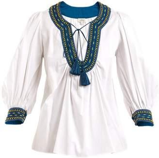 Talitha - Bead Embellished Cotton Shirt - Womens - White Navy
