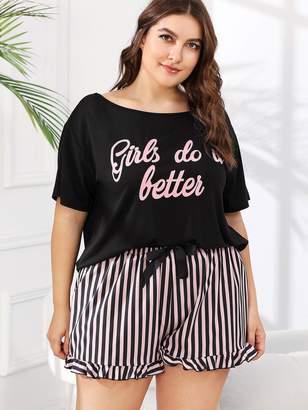 Shein Plus Slogan Print Tee & Striped Shorts PJ Set