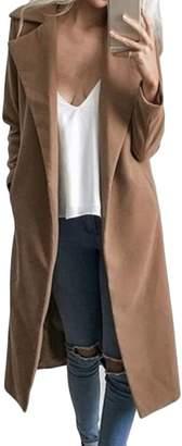 UUYUK-Women Wool Blend Solid Lapel Camel Long Outwear Trench Coat Jacket US L