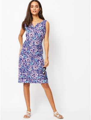 George Purple Floral Linen Blend Dress