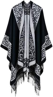 YACUN Women Winter Shawl Wrap Scarves Leopard Printed Poncho Blanket F