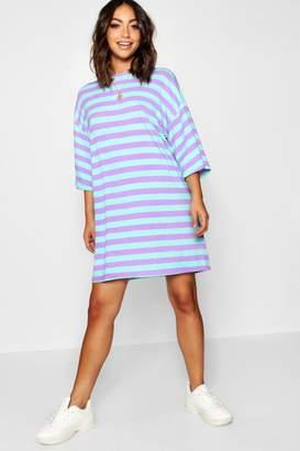 boohoo Bold Stripe Oversized Jersey Tee Dress