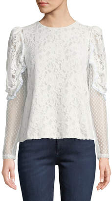 See by Chloe Long-Sleeve Lace Ruffle Crewneck Blouse