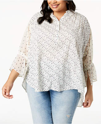 Lucky Brand Trendy Plus Size High-Low Peasant Top