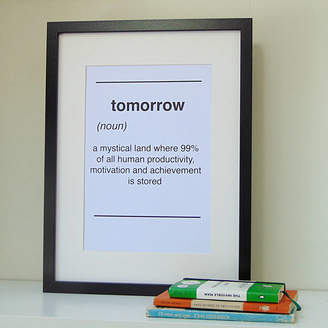 Little Bird Designs Dictionary Style Tomorrow Quote Print