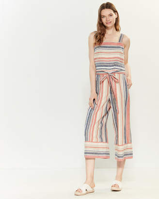 BeachLunchLounge Beach Lunch Lounge Striped Linen-Blend Belted Jumpsuit