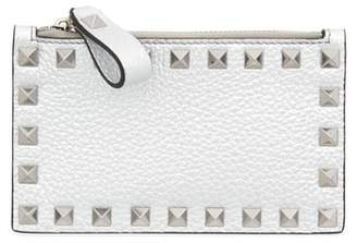 Valentino Rockstud Leather Zip Card Case
