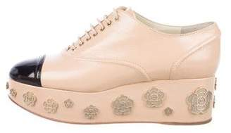 Chanel CC Camellia Platform Oxfords