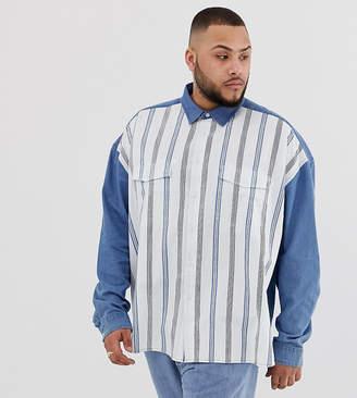 19723e1457cf Asos Design DESIGN Plus oversized 90's style denim shirt with stripe front