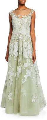 High-Neck Cap-Sleeve Embellished Tulle Gown w/ Floral Lace Applique