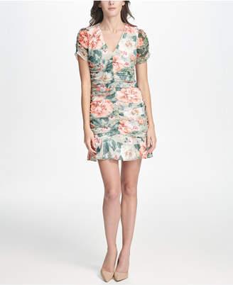 Kensie Ruched Floral Printed Lace Dress