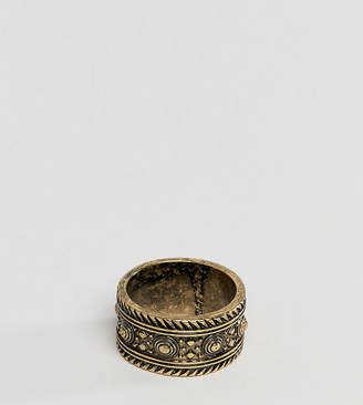 Asos DESIGN Plus Ring With Geo-Tribal Emboss In Burnished Gold