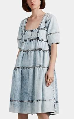 Ulla Johnson Women's Devi Acid-Washed Denim Dress - Blue