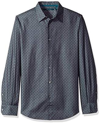 Perry Ellis Men's Big and Tall Long Sleeve Wave Printed Shirt