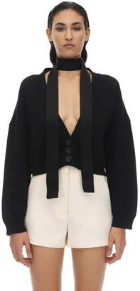 RED Valentino CROPPED VIRGIN WOOL KNIT CARDIGAN