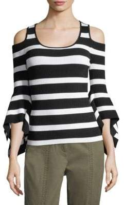 Scoopneck Cold-Shoulder Bell-Sleeve Sweater