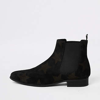 River Island Black suede star embossed Chelsea boots