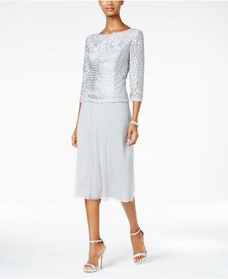 Alex Evenings Cowl-Back Tea-Length Dress $189 thestylecure.com