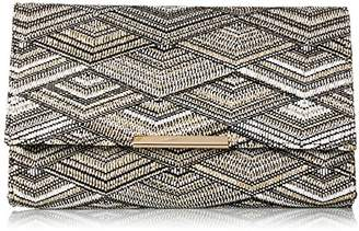 Jessica McClintock Nora Straw Black & White Large Envelope Clutch