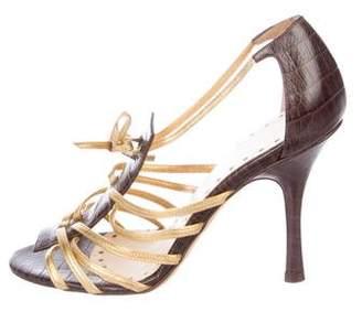 Alexandra Neel Embossed Cage Sandals