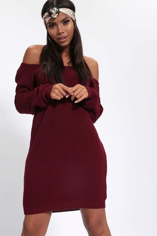 Isawitfirst Burgundy Slash Neck Knitted Jumper Dress